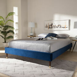 Volden Glam And Luxe Navy Blue Velvet Fabric Wood Bed Frame W/ Gold-tone Leg Tips