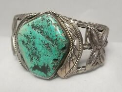 Vintage Navajo Turquoise Bracelet 1950-60and039s Menand039s Sterling Silver Cuff 7.25