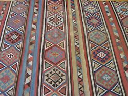 Rare Kilim Antique 1880and039s Caucasian Hand Woven Wool Oriental Rug 5and039 X 9and0399