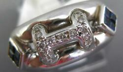 .58ct Diamond And Aaa Sapphire 18kt White Gold Round And Princess H Initial Fun Ring