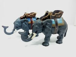 Pair If Antique Mid-century Cast Iron Mechanical Elephant Coin Banks