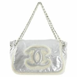 Chanel Large Silver Nylon and Wool CC Logo Flap Shoulder Bag