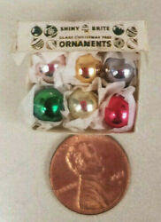 Extremely Tiny Christmas Glass Ornaments Miniature In Shiny Brite Box 6 Bulbs
