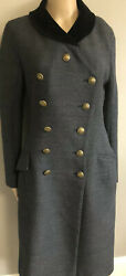 Louis Vuitton Blue Wool Military Coat With Lv Buttons And Velvet Collar Sz 6