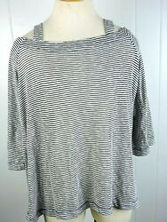 Loft Womans Large Black & White Striped long Sleeve Open Shoulder Blouse