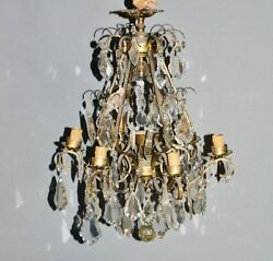 Antique French Bronze/brass Cage Crystal Prizms Chandelier