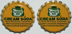 Soda Pop Bottle Caps Canada Dry Cream Lot Of 2 Cork Lined Unused New Old Stock
