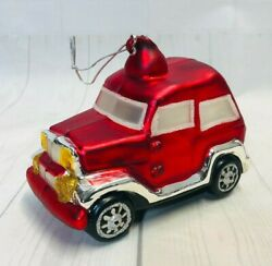 Dept 56 Mercury Glass Hand Blown Red Sport Utility Vehicle Jeep Ornament