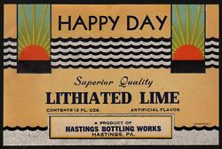 Vintage Soda Pop Bottle Label Happy Day Lithiated Lime Hastings Pa New Old Stock