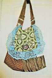 Vtg Victorian Era Style Tapestry and Lace Carpet Bag Multi Color Multi Pattern