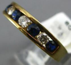.99ct Diamond And Aaa Sapphire 14kt Yellow Gold 3d Round Channel Anniversary Ring