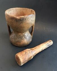 Antique Mortar And Pestle Carved Wood Wooden Primitive Apothecary Tool Rare