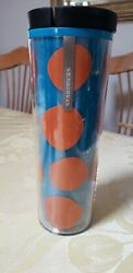 Starbucks Orange And Blue Tumbler Textured - Insulated 16 Oz Cold/hot Cup New 2013