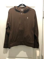 New With Tags Thin Womens Ladies Zip Up Hoodie Brown Polo Size Xl