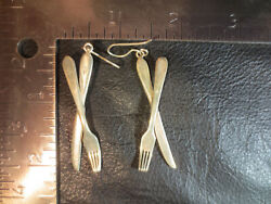Vintage Knife And Fork Earrings Sterling Silver Chef Cook Kitchen Foodie