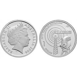 Australia 1 Dollar Fifty Years Of Television2006 Silver 999 Proof Coin