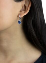 Natural Paved Blue Sapphire And Diamond 14k White Solid Gold Dangle Earrings