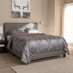 Audrey Modern Gray Button-tufted Fabric Upholstered Headboard Panel Bed Frame