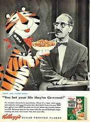 Magazine Ad Cereal Kelloggandrsquos Frosted Flakes Groucho Marx Tony The Tiger