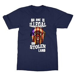 Native American No One Is Illegal On Stolen Land Menand039s T-shirt