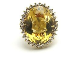 14k Yellow Gold Oval Citrine And Round Diamond Estate Cocktail Ring 21.12ct