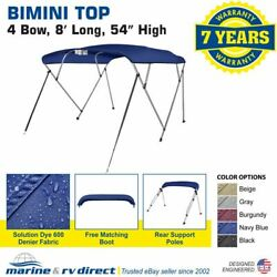 Bimini Top Boat Cover 4 Bow 54 H 67 - 72 W 8 Ft Long Solution Dye Navy Blue