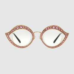 Cat Eye Metal Glasses With Pink Crystals Gg0046s