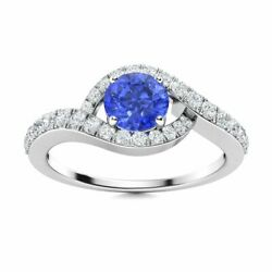 Natural 0.96 Carat Ceylon Sapphire And Diamond Halo Womenand039s Ring In 14k White Gold