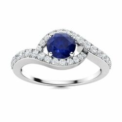 Natural 0.96 Carat Blue Sapphire And Diamond Halo Womenand039s Ring In 14k White Gold