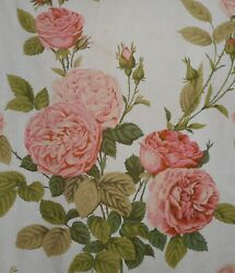 Antique English Lg. Redoutandeacute Cabbage Roses Cotton Fabric 2apricot Olive Aged