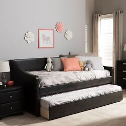 Barnstorm Modern Faux Leather Sofa Daybed Frame With Pull-out Guest Trundle