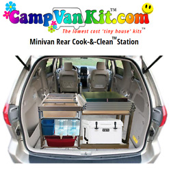 Camp Van Minivan Rear Cook Clean Station Kit With 3rd Seat Well Box Aluminum