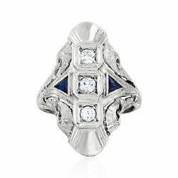 Vintage Diamond And Synthetic Sapphire Ring In 18kt White Gold Size 5