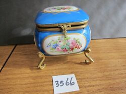 Antique Hand Painted Porcelain Sewing Box With Hinged Top And Brass Legs