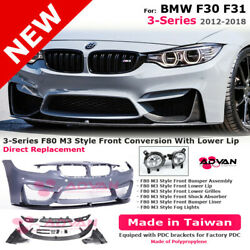 Front Bumper F80 M3 Style With Pdc Fog Lights For Bmw F30 F31 3-series 12-18 Lip