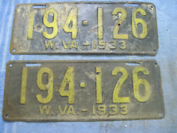 Vintage Pair Front And Rear West Virginia License Plates Wv 1933 175-782