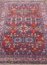 Antique 1920s Tribal Hand-knotted 4and0397x6and0397 Wool Veg. Dyes Oriental Rug Cleaned