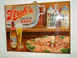 1940s Stroh's Bohemian Beer Sign Celluloid/tin/cardboard Glass Bottle Tray Stein