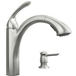 Kinzel Collection Pull-out Kitchen Faucet, Low-arc, Stainless Steel
