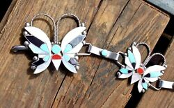 Handmade Vintage Zuni Sterling Inlay Butterfly Concho Belt 16 Piece Signed