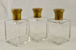 Antique C.1880 Set Of 3 Cut Glass Tantalus Bottles W/stoppers And Brass Screw Tops
