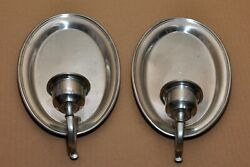 Pair Of Woodbury Pewter Oval Plate Type Scone Candle Holders
