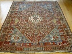 Genuine Antique Tribal Hand Knotted Wool Veg. Dyes Oriental Rug 6.2 X 9.8