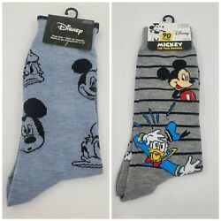 2 Pair Disney Mickey Mouse Dress Socks Mens Shoe Size 6-12 Crew Gift Casual L25M $11.99