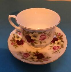 Antique/vintage England Royal Queen Anne China Flower Tea Cup And Saucer Set