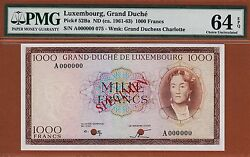 Luxembourg 1000 Francs 1963 Specimen A000000 Not Issued P-52ba Ch Unc Pmg 64 Epq