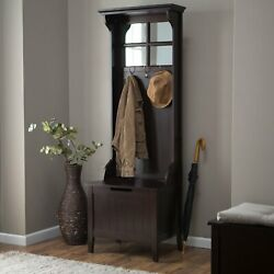 Mini Hall Tree Coat Stand Entryway Home Furniture Decor Storage Bench Espresso