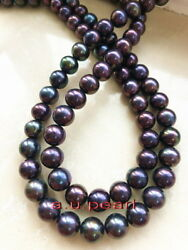 Long Aaaaa 3611-12mm Real Natural South Sea Blue Red Black Pearl Necklace 14k