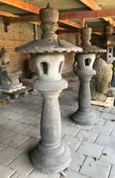 Large Pair Of Lavastone Lanterns From Indonesia, Can Be Shipped Worldwide