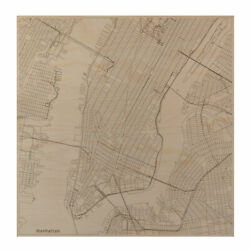 Manhattan Ny Laser Engraved City Map Nyc Wall Art Office Decor Gift
